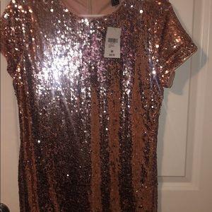 Rue 21 sequin Gold rose dress